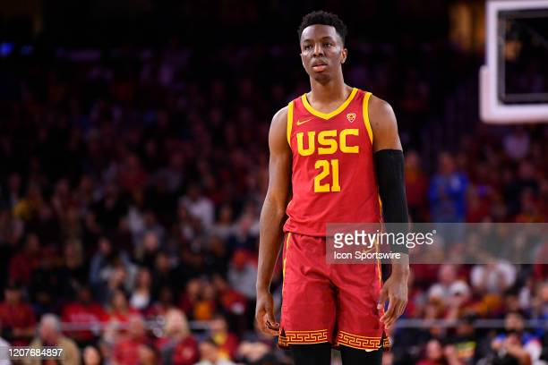 Trojans forward Onyeka Okongwu looks on during the college basketball game between the UCLA Bruins and the USC Trojans on March 7 2020 at Galen...