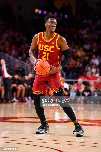 Trojans forward Onyeka Okongwu looks to make a pass during the college basketball game between the UCLA Bruins and the USC Trojans on March 7 2020 at...