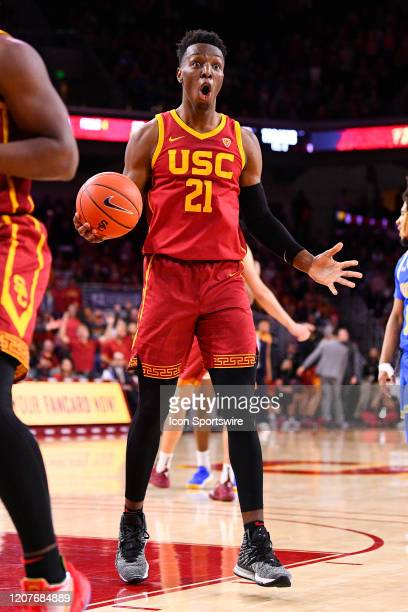 Trojans forward Onyeka Okongwu reacts to a foul call during the college basketball game between the UCLA Bruins and the USC Trojans on March 7 2020...