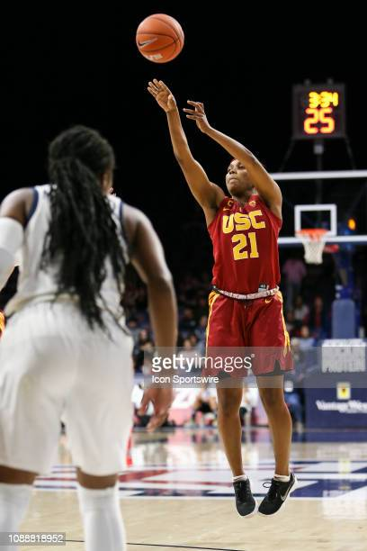 Trojans guard Aliyah Mazyck shoots the ball during a college women's basketball game between the USC Trojans and the Arizona Wildcats on January 25...