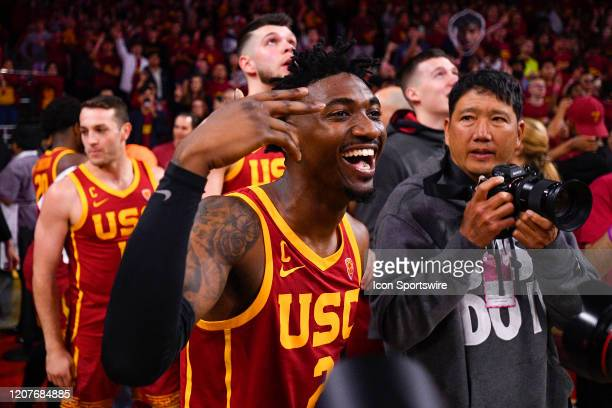 Trojans guard Jonah Mathews celebrates after the college basketball game between the UCLA Bruins and the USC Trojans on March 7 2020 at Galen Center...