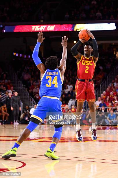 Trojans guard Jonah Mathews shoots a shot during the college basketball game between the UCLA Bruins and the USC Trojans on March 7 2020 at Galen...
