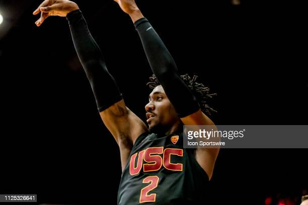 Trojans guard Jonah Mathews watches his shot during the men's college basketball game between the USC Trojans and Stanford Cardinal on February 13...