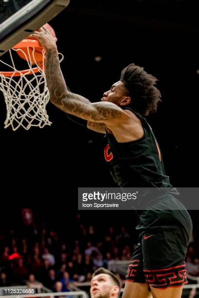 Trojans guard Kevin Porter Jr dunks the ball during the men's college basketball game between the USC Trojans and Stanford Cardinal on February 13...