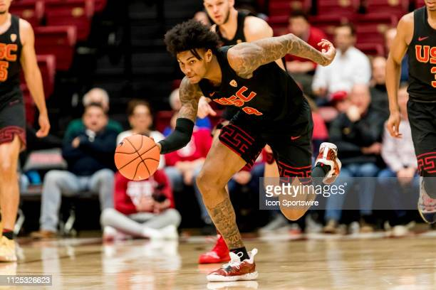 Trojans guard Kevin Porter Jr grabs a loose ball during the men's college basketball game between the USC Trojans and Stanford Cardinal on February...