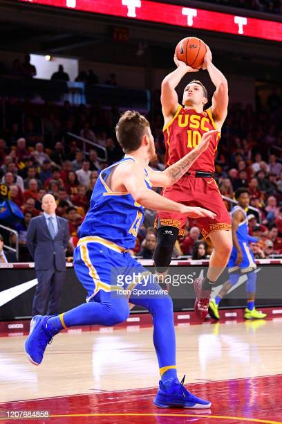 Trojans guard Quinton Adlesh shoots a shot during the college basketball game between the UCLA Bruins and the USC Trojans on March 7 2020 at Galen...