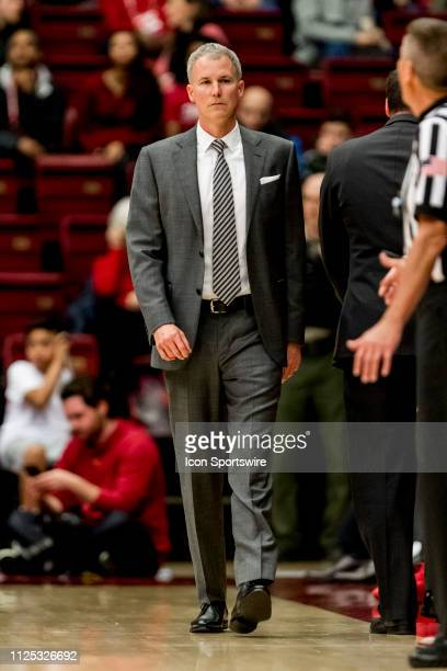 Trojans head coach Andy Enfield talks to the referee during the men's college basketball game between the USC Trojans and Stanford Cardinal on...