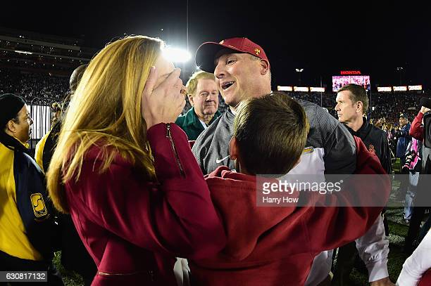 Trojans head coach Clay Helton reacts after defeating the Penn State Nittany Lions 52-49 to win the 2017 Rose Bowl Game presented by Northwestern...