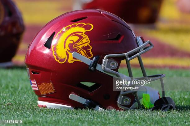 Trojans helmet on the field before the college football game between the USC Trojans and the Arizona State Sun Devils on November 9, 2019 at Sun...