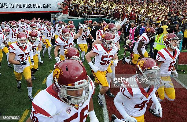 Trojans ILB Christian Herrera and the USC Trojans exit the tunnel before the USC Trojans game versus the Penn State Nittany Lions in the Rose Bowl...