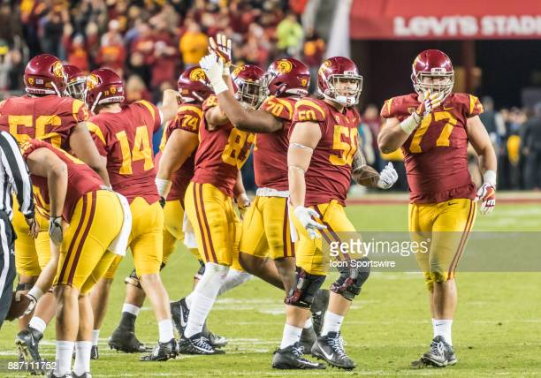 Trojans linebacker Grant Moore and USC Trojans guard Chris Brown counting down the victory clock during the PAC12 Championship game between the USC...