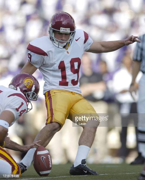 Trojans Mario Danelo during the game between the USC Trojans and the University of Washington Huskies at Husky Stadium in Seattle WA on Oct 22 2005...