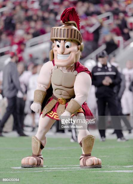 Trojans mascot Tommy Trojan appears at the Pac12 Championship game between the USC Trojans and the Stanford Cardinal on December 1 2017 at Levi's...