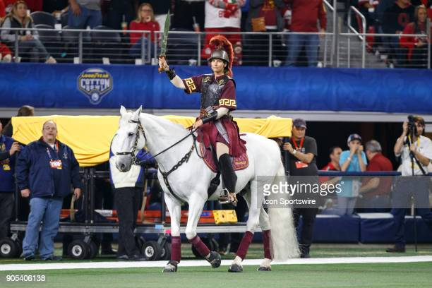Trojans mascot Traveler IX walks along the sideline during the Cotton Bowl Classic matchup between the USC Trojans and Ohio State Buckeyes on...