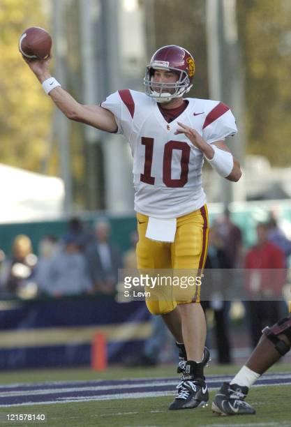 Trojans quarterback John David Booty during the game between the USC Trojans and the University of Washington Huskies at Husky Stadium in Seattle WA...