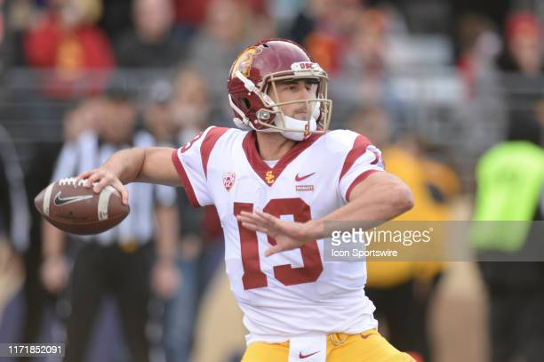 Trojans quarterback Matt Fink gets loads up to pass the ball during a PAC12 Conference game between the Washington Huskies and the USC Trojans on...