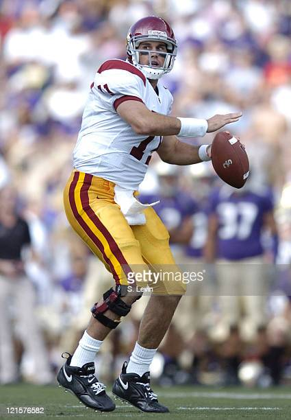 Trojans quarterback Matt Leinart during the game between the USC Trojans and the University of Washington Huskies at Husky Stadium in Seattle WA on...