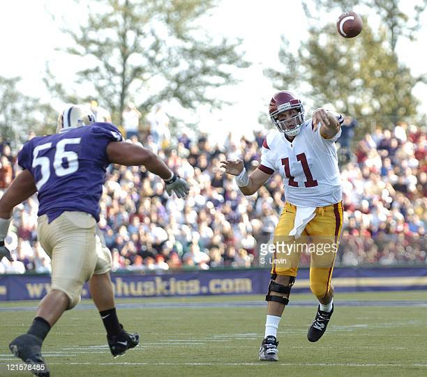Trojans quarterback Matt Leinart throws one of many touchdown passes during the game between the USC Trojans and the University of Washington Huskies...