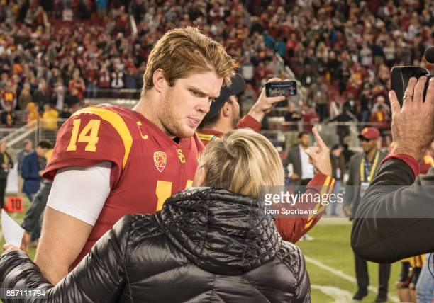 Trojans quarterback Sam Darnold has a postgame interview with an ESPN reporter following the PAC12 Championship game between the USC Trojans and the...