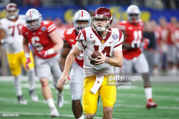Trojans quarterback Sam Darnold runs up field during the Cotton Bowl Classic matchup between the USC Trojans and Ohio State Buckeyes on December 29...
