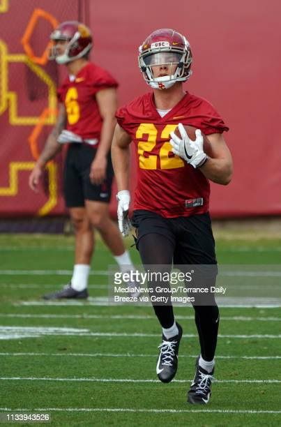 Trojans receiver Jack Webster during USC's first spring football practice on campus in Los Angeles on Tuesday, Mar. 5, 2019.