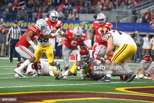 Trojans running back Stephen Carr is stopped just short of the goal line during the Cotton Bowl Classic matchup between the USC Trojans and Ohio...