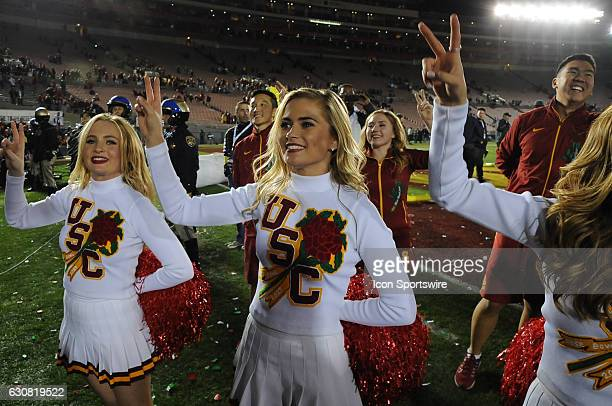 Trojans song girls celebrate after the USC Trojans defeated the Penn State Nittany Lions 5249 in the Rose Bowl Game on January 2 at the Rose Bowl in...