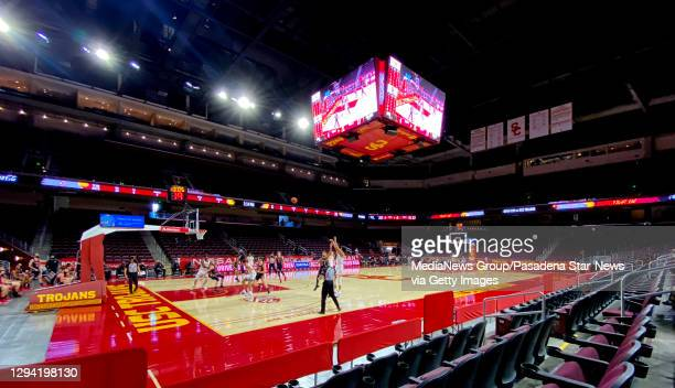 Trojans takes on the Utah Utes during a NCAA basketball game at Galen Center on the campus of the University of Southern California in Los Angeles on...