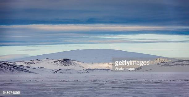 trolladyngja shield volcano, wintertime, iceland - shield volcano stock pictures, royalty-free photos & images