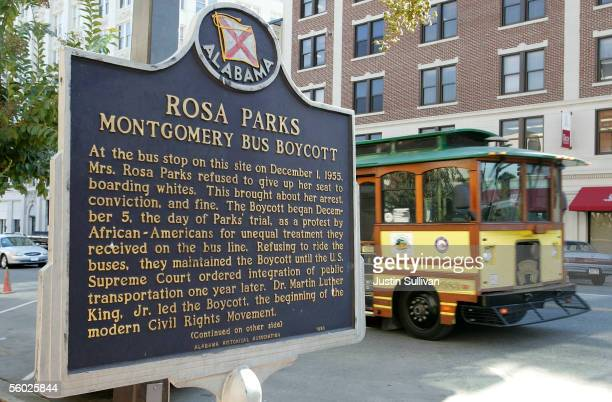 A trolley passes the site where civil rights icon Rosa Parks was arrested December 1 for not giving up her bus seat to a white man October 28 2005 in...