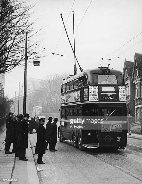 A trolleybus undergoing breaking tests at Anerly Hill in in Cystal Palace as London Transport extend their trolleybus service from Croydon to Crystal...