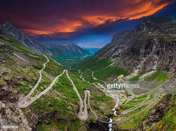Trollstigen, Troll road at sunset. Norway
