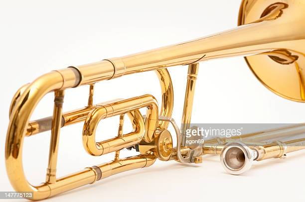 Trombone close Isolated on White