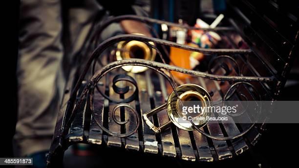 Trombone on a bench