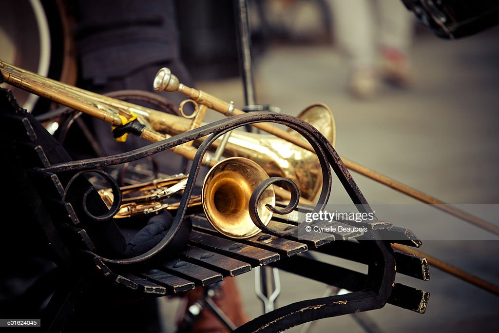 Trombone on a bench : Stock Photo