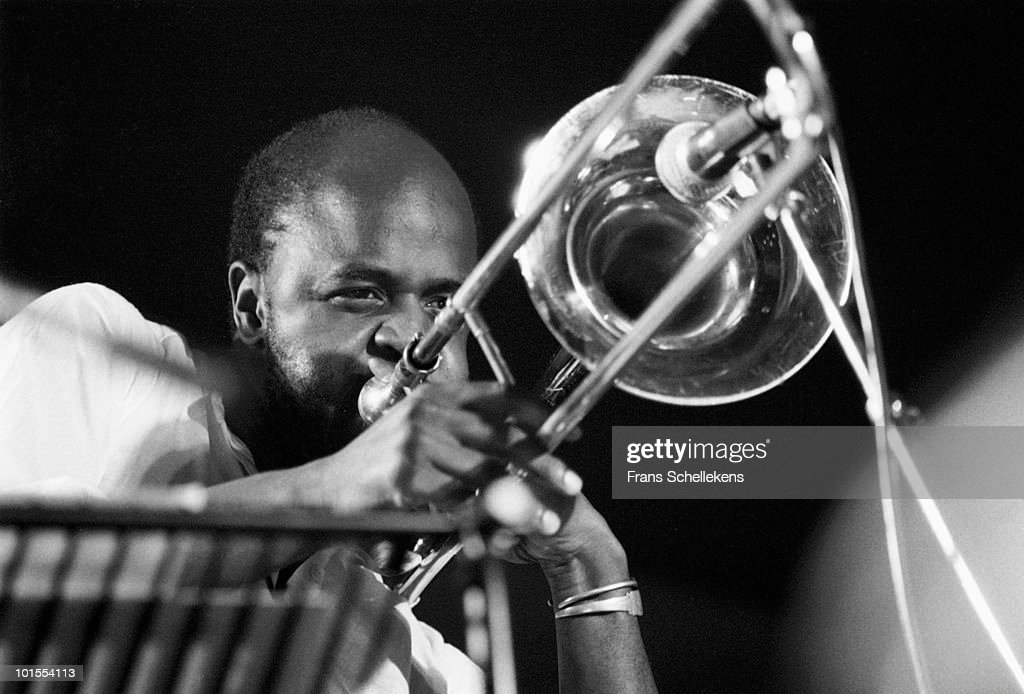 Trombone player Craig Harris performs live on stage at the North Sea Jazz Festival in The Hague, Netherlands on July 14 1984
