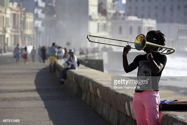 Trombone player in El Malecon