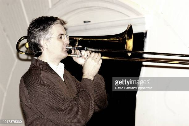 Trombone player Joost Buijs performs live on stage at The Spitz in London on 8th October 2004