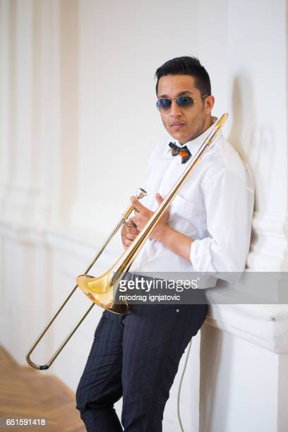 trombone player - flashing at concerts stock photos and pictures
