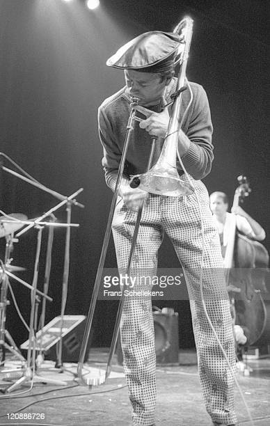 Trombone player Ray Anderson performs at the Meervaart in Amsterdam, Netherlands on 22nd August 1986.