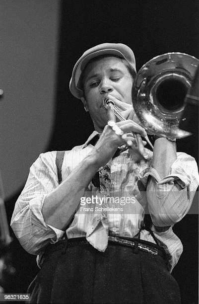 Trombone player Ray Anderson performs live on stage in Meervaart, Amsterdam, Netherlands on September 27 1985