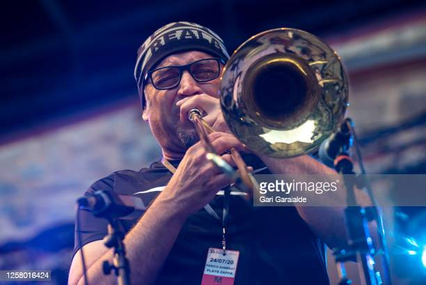 Trombone player Toni Belenguer performs on stage with the Perico Sambeat Plays Zappa project during 55th edition of the Heineken Jazzaldia Festival...
