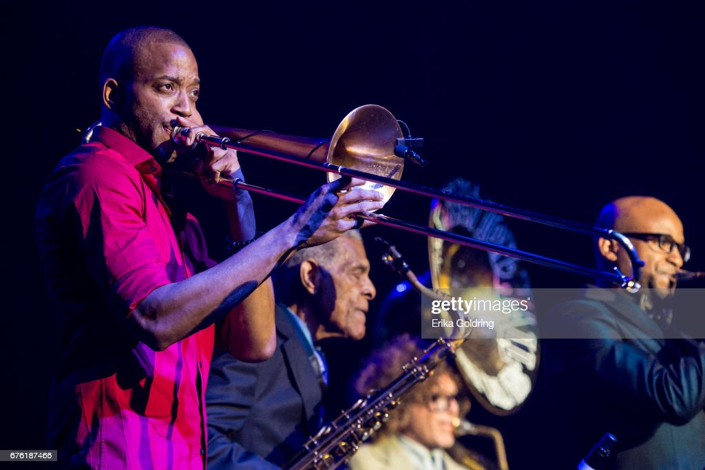 Trombone Shorty (L) and Charlie Gabriel, Ben Jaffe and Branden Lewis of Preservation Hall Jazz Band perform during Trombone Shorty's Treme Threauxdown at Saenger Theatre on April 29, 2017 in New Orleans, Louisiana.