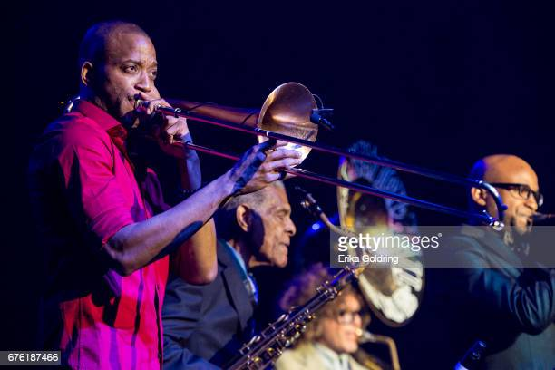 Trombone Shorty and Charlie Gabriel Ben Jaffe and Branden Lewis of Preservation Hall Jazz Band perform during Trombone Shorty's Treme Threauxdown at...