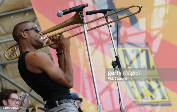 Trombone Shorty & Orleans Avenue performs during the 2012 New Orleans Jazz & Heritage Festival Day 3 at the Fair Grounds Race Course on April 29,...