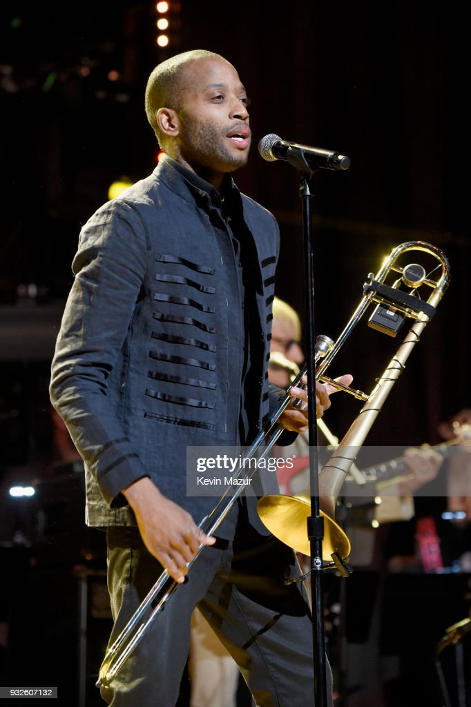 Trombone Shorty performs onstage at the Second Annual LOVE ROCKS NYC! A Benefit Concert for God's Love We Deliver at Beacon Theatre on March 15, 2018 in New York City.