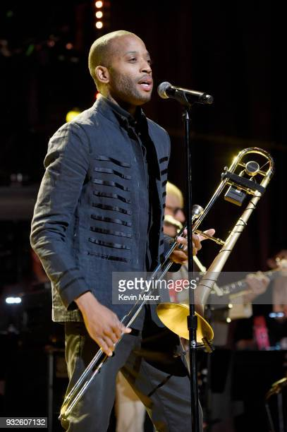 Trombone Shorty performs onstage at the Second Annual LOVE ROCKS NYC A Benefit Concert for God's Love We Deliver at Beacon Theatre on March 15 2018...