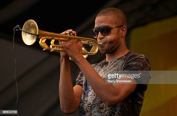 Trombone Shorty performs with Galactic during Day 6 of the 41st annual New Orleans Jazz & Heritage Festival at the Fair Grounds Race Course on May 1,...