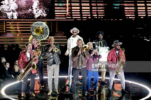 Trombone Shorty performs with Orleans Avenue and Preservation Hall Jazz Band onstage during the 62nd Annual GRAMMY Awards at STAPLES Center on...