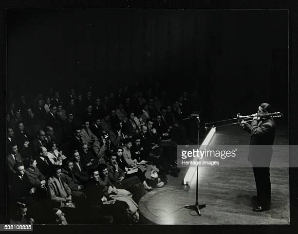 Trombonist and bandleader Jack Teagarden on stage at Colston Hall Bristol 1957 Artist Denis Williams